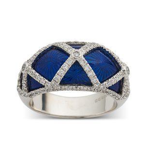 Blue-enamel-with-diamond-criss-cross-pattern