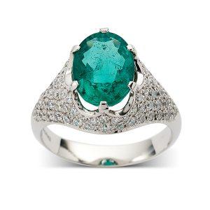 Emerald-with-pave-set-diamond-surround