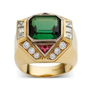 Green-and-pink-tourmaline-with-diamonds