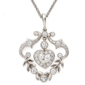 Heart-and-leaves-diamond-set-pendant