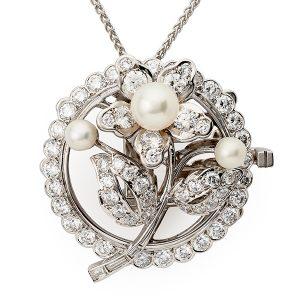 Pearl-and-diamond-flower-pendant