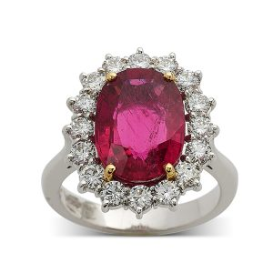 Pink-tourmaline-and-diamond-cluster