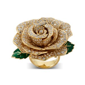 Rose-ring-with-diamonds-and-enamel-leaves