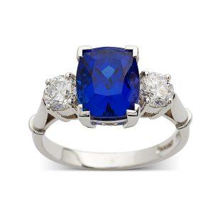 Sapphire-cushion-three-stone