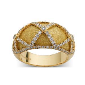 Yellow-enamel-with-diamond-criss-cross-pattern